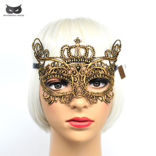 Mysterious Angel Sexy Halloween Mask Dance Festival Party Princess Hollow Ball Delicate Lace Crown Masks carnival free shipping(China)