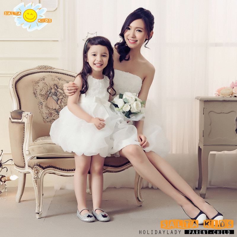 1pc 2016 Bows Princess Girl Ball Down Dress Spring Mother Daughter Dresses Summer Baby Girl Dress Family Matching Outfits MN020<br>
