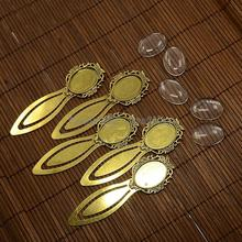 25x18mm Clear Oval Glass Cabochon Cover for Antique Golden DIY Alloy Portrait Bookmark Making, Cadmium Free & Nickel Free