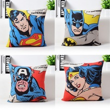 Super Heros Cushion Cover American Pop Captain America Superman Iron Man Batman Wonder Woman Pillow Cover Bedroom Pillow Case(China)