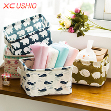 Cute Printing Cotton Linen Desktop Storage Organizer Sundries Storage Box Cabinet Underwear Storage Basket Fast Shipping(China)