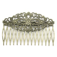 DoreenBeads Hair Clips Comb Shape Flower Antique Bronze Hollow 8.1x5.5cm,10PCs (B23892)