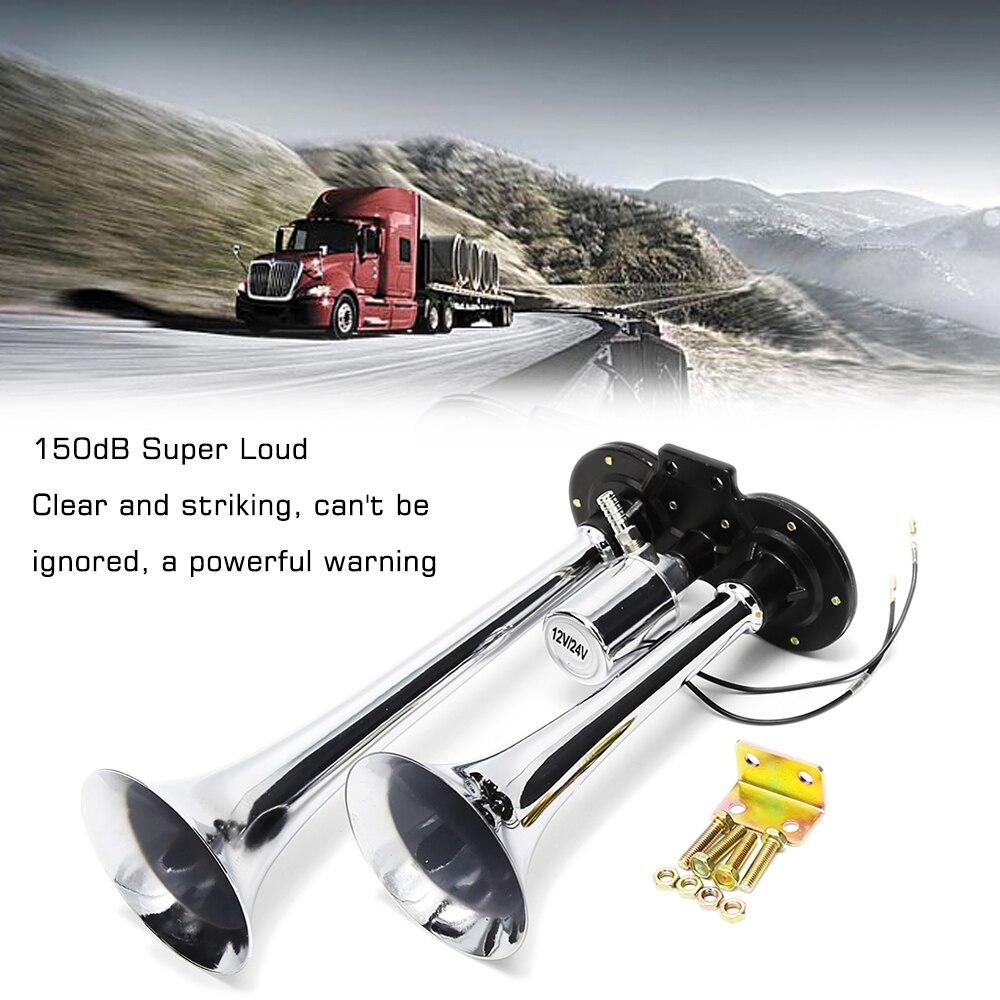 Par 12v Dual Doble Cromo Pulido Caracol Cuernos Tono Alto//Bajo Motocicleta Auto