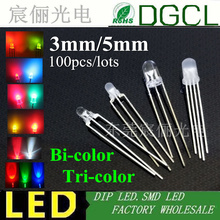 100pcs Free shipping 3mm 5mm LEDs Round led Bicolor and Tri-color DIP LED LED red/green/blue/yellow.white light diode