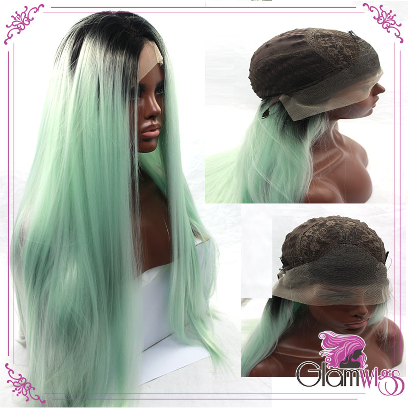 Wholesales Heat Resistant Silky Straight Wigs With Elastic Adjustable Strap Ombre Dark Root Green Synthetic Lace Front Wig<br><br>Aliexpress