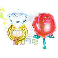 50pcs/lot Mini Red Rose flower & Diamond Ring foil balloons Wedding&Valentine's Day party marriage room decoration