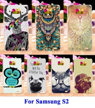 Hard Plastic and Soft TPU Phone Cover For Samsung Galaxy SII I9100 S2 Cases DIY Painted Cat\Dog Animal Painting Phone Cover Hood
