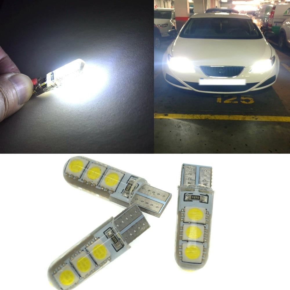 Hviero Car LED 10PCS T10 194 W5W DC 12V Canbus 6SMD 5050 Silicone shell LED Lights Bulb No Error Led Parking Fog light Auto Car Styling