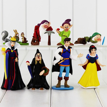 8pcs/set  High Quality PVC Figure Toy Doll Princess Snow White Snow White And The Seven Dwarfs Queen Prince Figure Toy