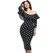 women polka dots dress plus size vestidos Retro Vintage valentines day Ruffle Off-shoulder Neckline Long Sleeve Dress 61220