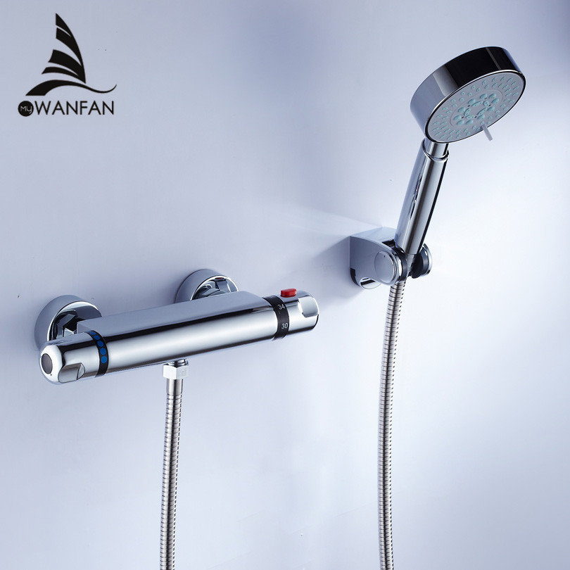 Shower Faucet Chrome Silver Wall Mounted Thermostatic Bathtub Faucet Round Rain Handheld Shower Bathroom Mixer Taps Set WF-18046