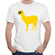 Men Tops Tees Summer New Funny Llama With Sunglasses Cotton Short Sleeve T Shirt Man Fashion Trends Quality Mustache Tee Shirts