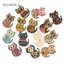 Hoomall Brand 100PCs Natural Wooden Buttons Cute Cat Shape Decorative Sewing Buttons 2 Holes Scrapbooking Crafts DIY 3x2.3cm(China)