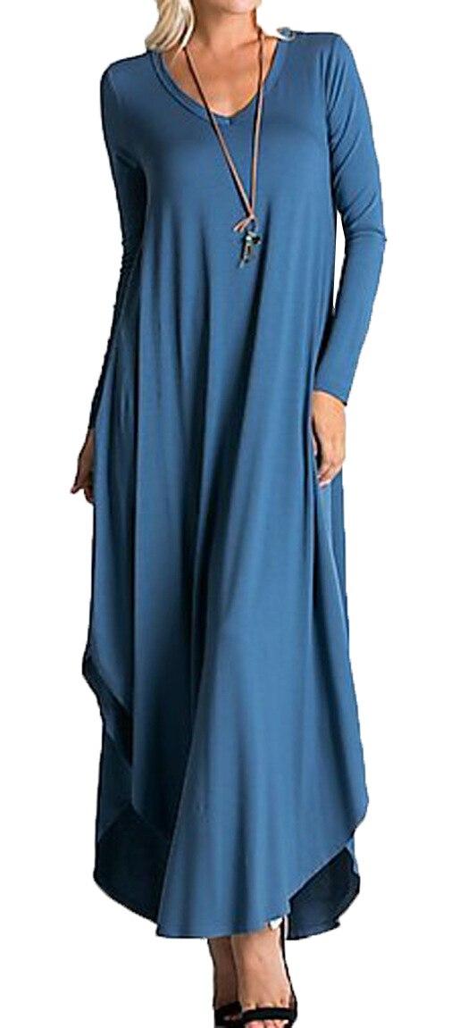 2018 Fashion Knitted Maxi Dress Women Long Sleeve Loose Female Dress Pleated V-neck Solid Casual Long DressÎäåæäà è àêñåññóàðû<br><br>