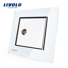 Wholesale/Retail, White Crystal Glass Panel, 1 Gang TV Socket / Outlet VL-C791V-11, Without Plug adapter