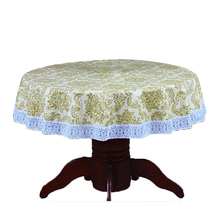 PVC Pastoral round table cloth waterproof Oilproof non wash plastic pad plus velvet anti hot coffee tablecloth 137cm No7