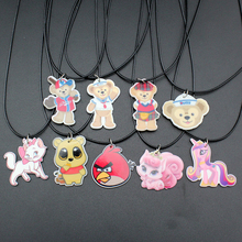 "Trusta 10 Style Fashion Girls Kids Gift Jewelry Cute Cat/Bear/Horse Pendant 17"" Short Rope Necklace Free Shipping KS00009"