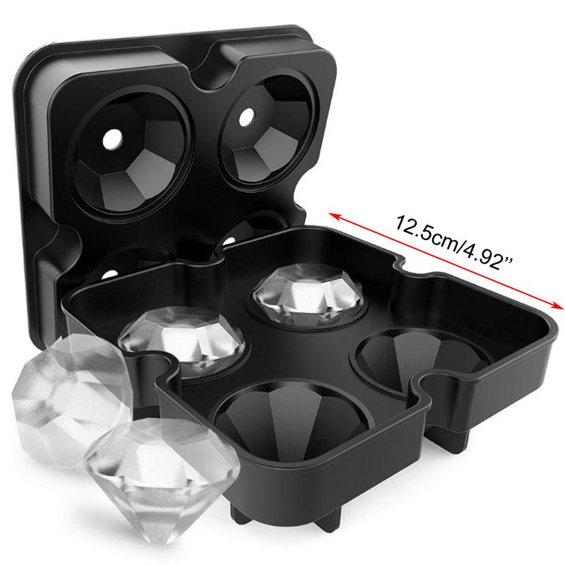 2018 New Silicone Ice Cube Tray Diamond Shape 3D Ice Cube Mold 4 Cavity Ice Ball Maker Home Bar Ice Cream Tools (2)