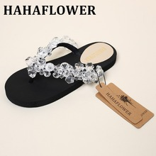 HAHAFLOWER Summer New  Style Slippers Transparent diamond flip flop Drag Anti-Slip Shoes Women Ladies Indoor Slippers