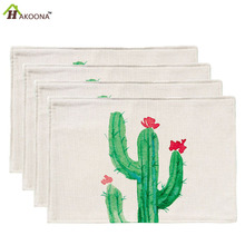HAKOONA 1 Piece Placemats Green Cactus Plants Garden Pattern  Table Pads Cotton Linen Fabric Table Mats 42*32cm
