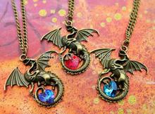 12pcs/lot Dragon Necklace Fantasy Crystal Necklace Dragon Jewellery Dragon Lover(China)