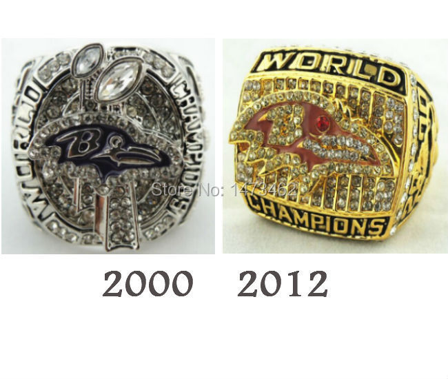 On sale fashion 2pcs replica 2000 2012 Super Bowl Baltimore Ravens championship rings(China (Mainland))