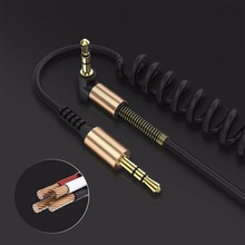 3.5mm Male to Male Audio Cable Flexible Spring Elbow 1M Aux Line For Computer Laptop TV DVD Amplifier Speaker CD Player #229045(China)
