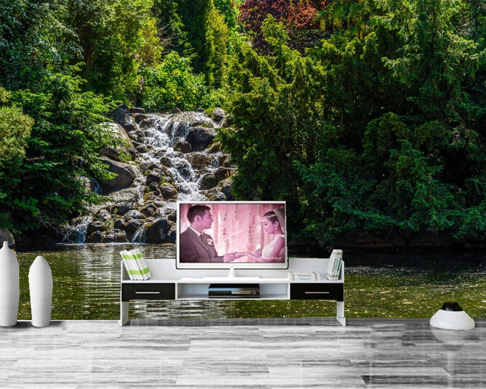 papel de parede Park Pond Waterfalls Stones Trees Nature 3d wallpaper,restaurant living room TV sofa wall bedroom custom murals<br>