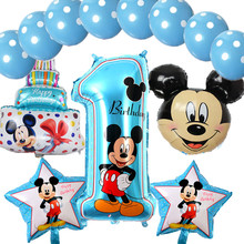 Mickey minnie 13pcs/set foil balloons 1st birthday party decoration ballon number 1 globos dot latex baloes baby shower supplies(China)
