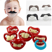 2017 Cheap Mustache Funny Soother Holder Teat Pacifier Silicone Nipple Pacifiers Newborn Babies Feeding Baby Products BPA Free