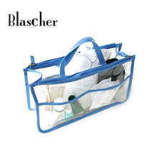 Blascher High quality Transparent double zipper large capacity toiletries sundries storage bag finishing bag cosmetic bag HBG12(China)