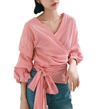 Autumn Pink Puff Sleeve V-Neck Striped Blouse Women Bandage Tied Blouse Shirts Clothes With Belt(China)