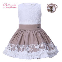 Pettigirl Summer Girls Clothing Set White lace Embroidery Backless Tee Brown Skirt With Headwear Children Boutique Suits