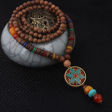 fashion evade enamell ethnic necklace,church star vintage plate Nepal jewelry,handmade sanwood bodhi beads vintage necklace(China)