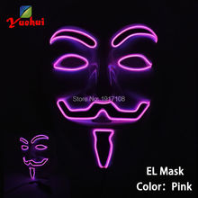 2017 NEW EL Wire Vendetta Mask Fashion V Cosplay LED MASK Costume Guy Fawkes Anonymous mask for party Halloween and Christmas(China)