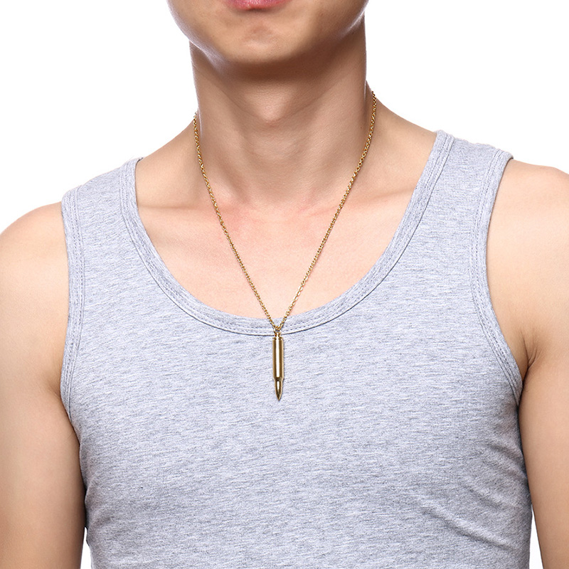 Meaeguet Black Stainless Steel Bullet Charm Pendant Necklaces For Men Hip Hop Link Chain Punk Jewelry Can Be Open (15)