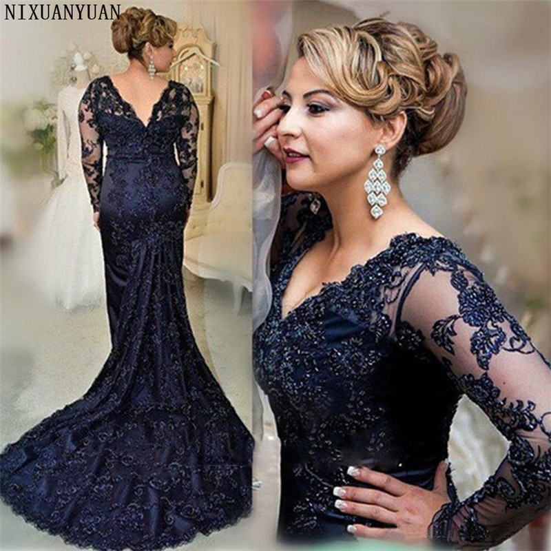 Long Sleeves Evening Dress Mermaid Applique Lace Women Lady Wear Prom Party Dress Formal Event Gown Mother of The Bride(China)