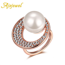 Ajojewel Brand #6-8 Gold-color Swirl Ring Top Quality Women's Simulated Pearl Jewelry Christmas Gifts