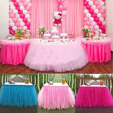5 Candy Colors Tulle Tutu Table Skirt Tulle Tableware Wedding Decoration Baby Shower Party Wedding Table Skirting Home Textile(China)