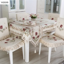 vezon New Fashion Polyester Satin Embroidery Floral Tablecloth Cutwork Embroidered Table Linen Cloth Towel Cover Overlays(China)