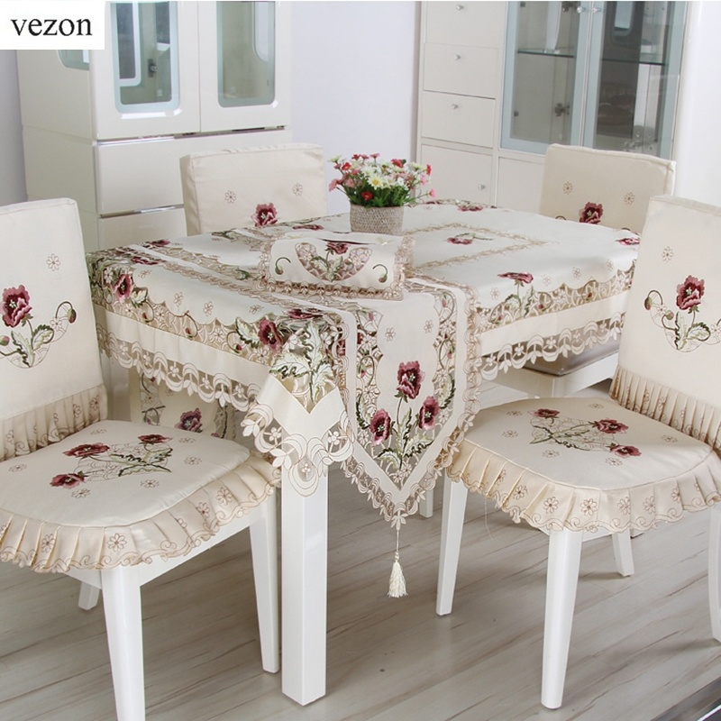 vezon New Fashion Polyester Satin Embroidery Floral Tablecloth Cutwork Embroidered Table Linen Cloth Towel Cover Overlays(China (Mainland))