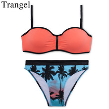Trangel new arrival 2017 bikinis brand biquini Two tone bikini set Orange swimwear push up swimsuit palm tree bikini beachwear