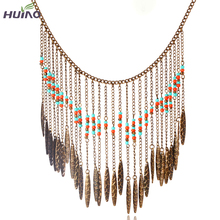 Retro Boho Beach Choker Necklace Vintage Hollow Out Small Beads Chockers Necklace For Women Fine Jewelry HY-1934(China)