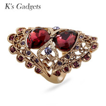 K's Gadgets Female Zircon Long Ring Titanium Gold Hollow Engagement Rings For Women Crystal Rhinestone Fashion Jewelry Aneis