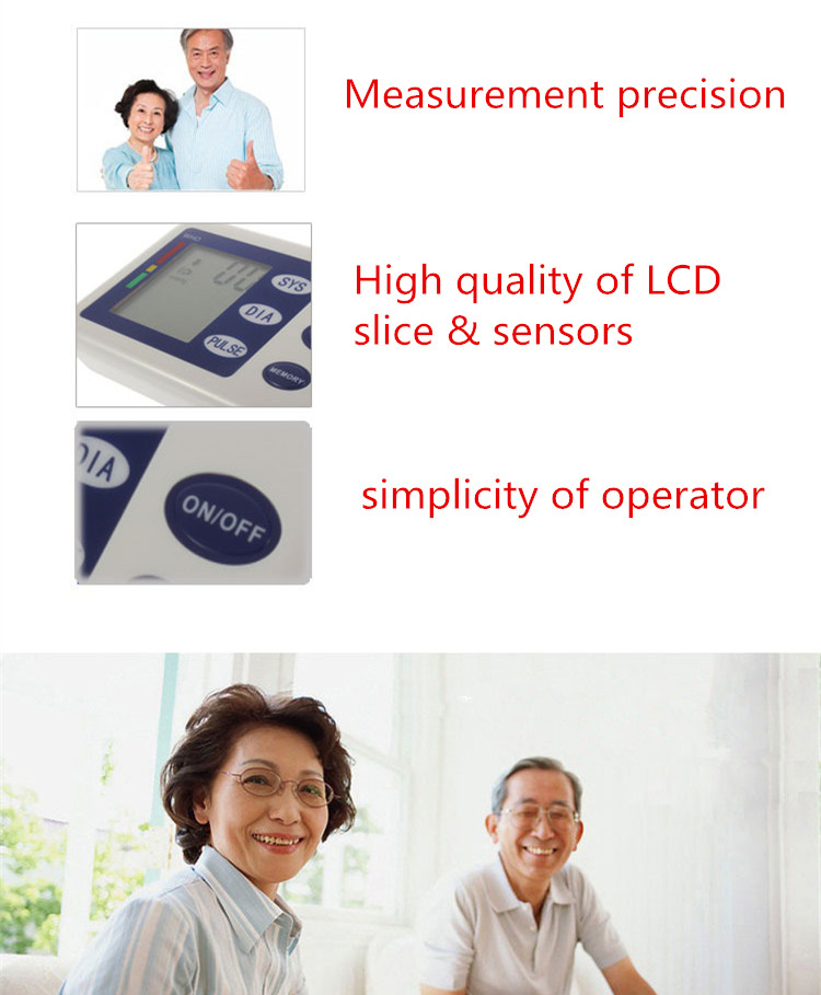 Fully automatic arm style blood pressure monitor Digital LCD large display professional accuracy memory Household Health care 2
