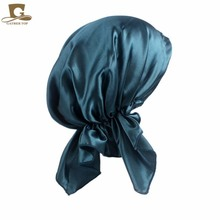 New Pre Tied Fitted silk satin Bandana Chemo cap Head Scarf for hair loss patients Womens night sleeping cap head wrap