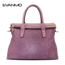 Leather Doctor Handbag Women Snakeskin Cow Leather Satchel Bags Elegant Purple France Style Handbag Lady Bags Women Bag(China)