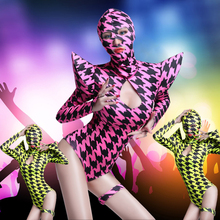 Europe Fashion Women Swallow gird Costume Sets Ds hip hop dance singer Houndstooth Performance wear Sexy Neon One piece Bodysuit(China)