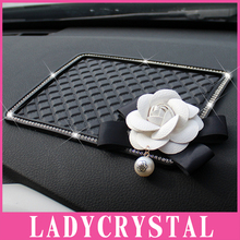 Ladycrystal Diamond Anti Slip Mat For Car GPS Mobile Phone Pad Car Doll Camellia Silicone Non-slip Cushion
