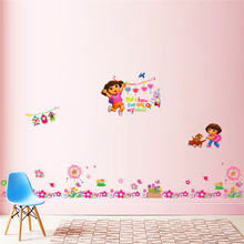 cartoon Dora monkey baseboard wall art stickers living room bedroom decorative posters diy removable decals kids gift